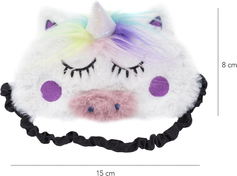 Fringoo Masque de repos en peluche douce l/éger masque de voyage ou de m/éditation pour les yeux licorne mignonne 3D