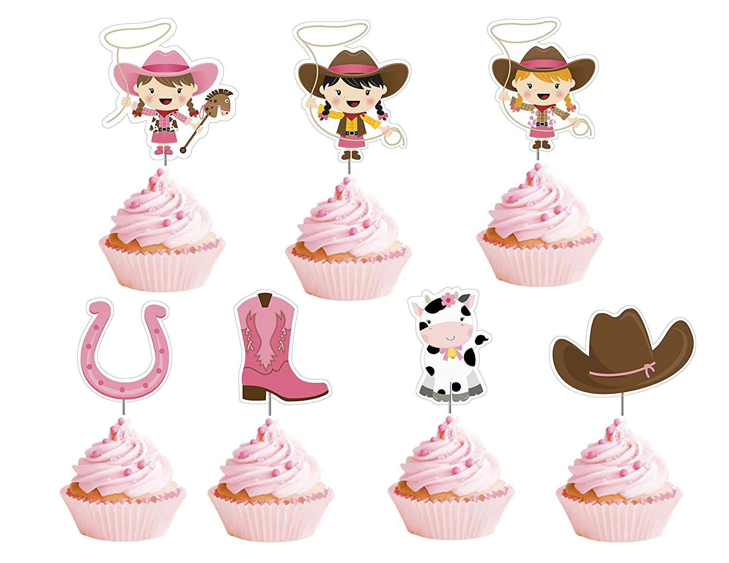 Astounding Amazon Com Cowgirl Cupcake Toppers 12 Pcs Pink Western Cake Personalised Birthday Cards Sponlily Jamesorg