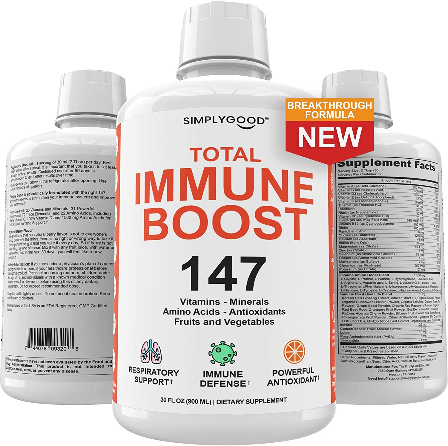 Immune Booster Liquid Support with 147 Essential Vitamins Minerals Herbs and Amino Acids - Total Immunity and Defense Supplement to Strengthen Your Immune System & Support a Healthy Respiratory System