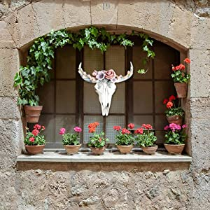 Succulent/Flower Cow Skull Wall Decor Nursery Decor, Simulation 3D Animal Cow Skull, Faux Animal Head Resin Wall Hanging Decor Artwork Room Wall Decoration (Pink, 18x18x5cm)