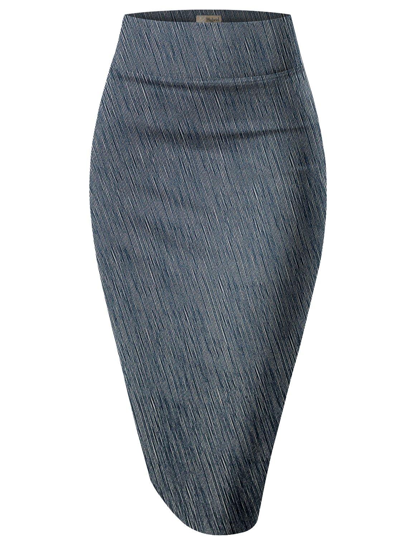 Womens Pencil Skirt For Office Wear KSK43584 10589 Navy M