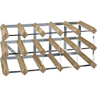 George Wilkinson 15-Bottle Ready-to-Assemble Wine Rack - Natural Pine/Galvanised Steel
