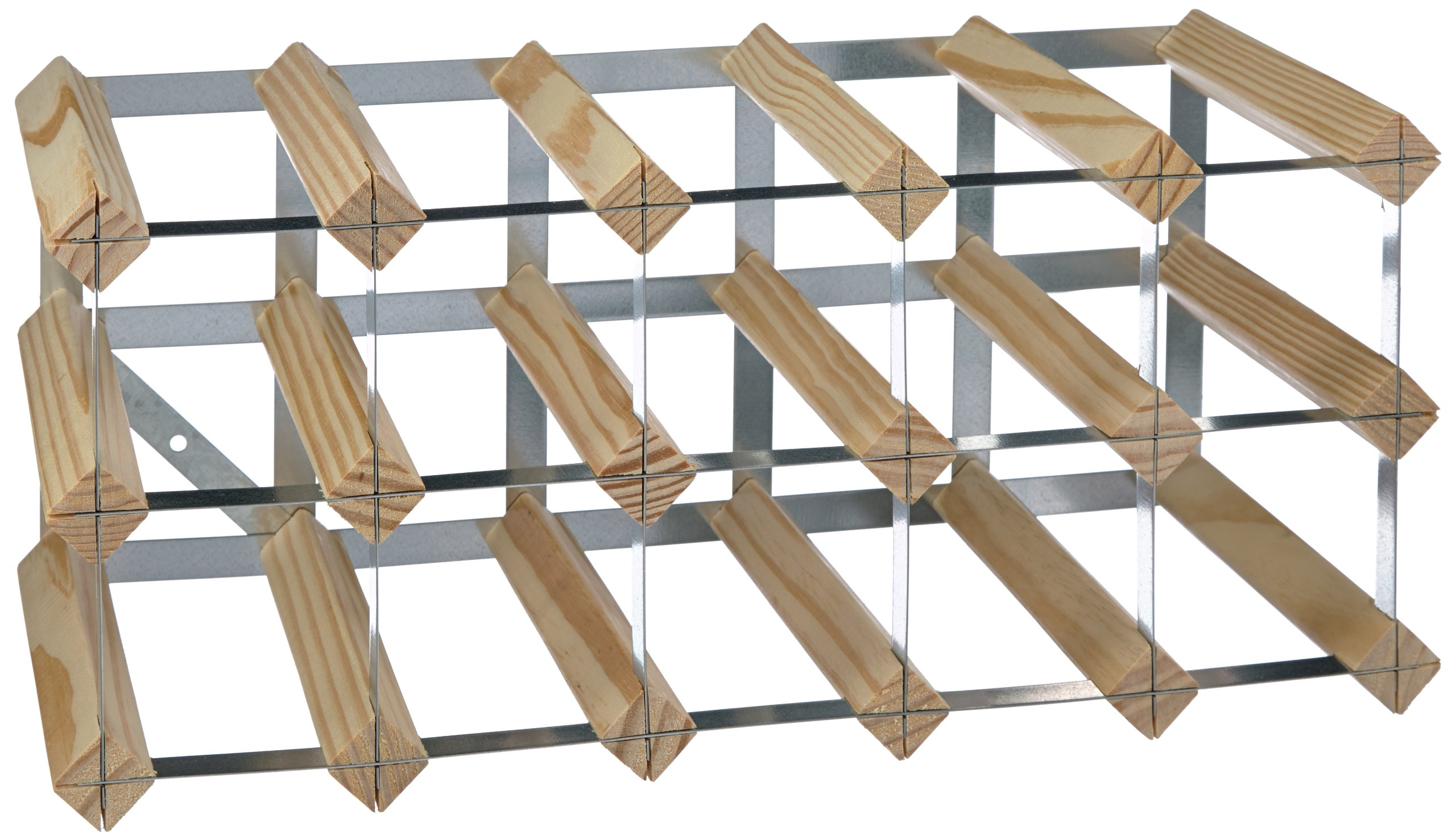 15-Bottle Ready-to-Assemble Wine Rack - Natural Pine / Galvanised Steel