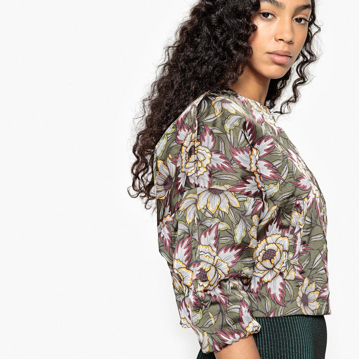 La Redoute Collections Womens Printed Padded Jacket with Batwing Sleeves