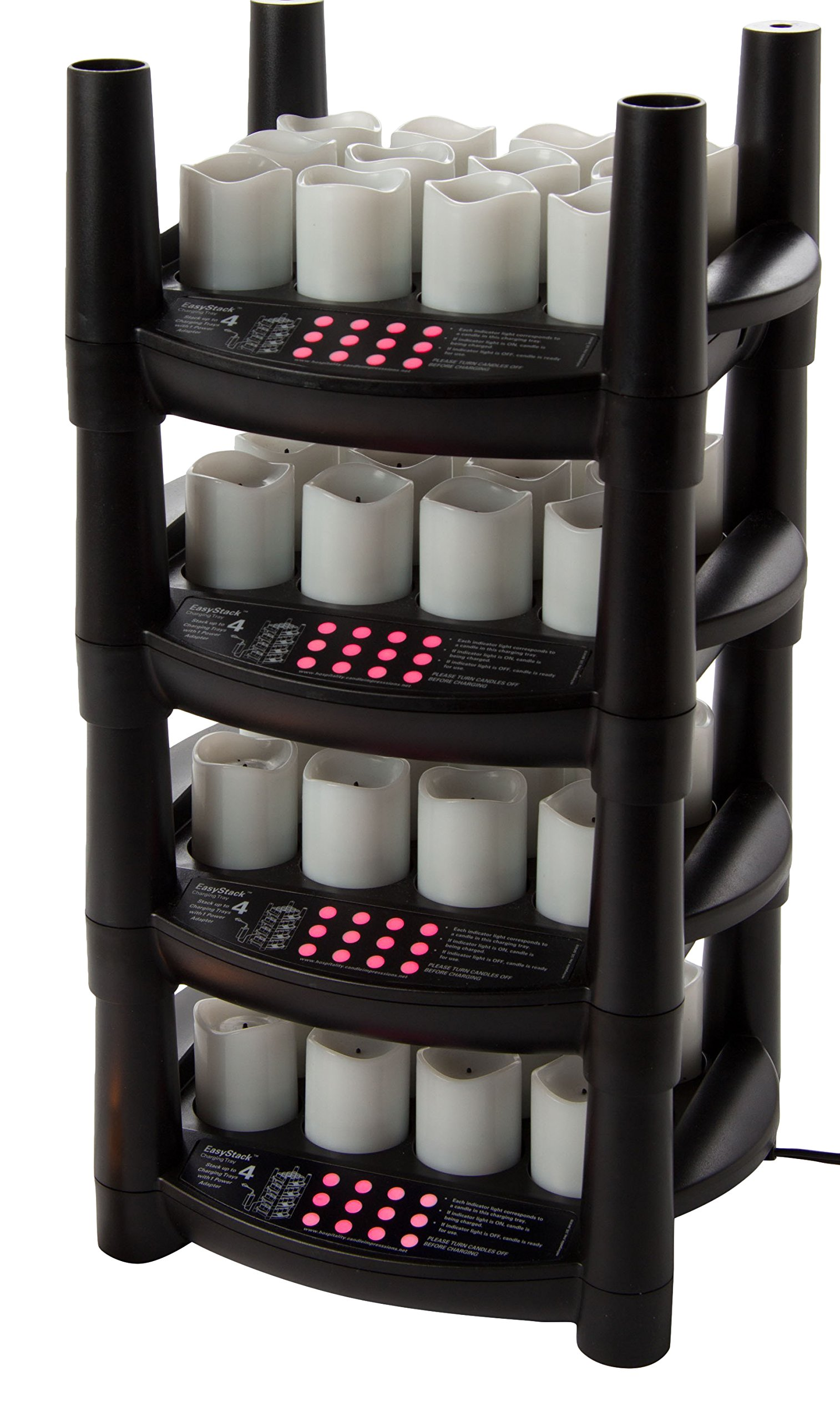 Sterno 48 Piece Warm White Flameless Votive 4 EasyStack Charging Bases and 1 Power Adapter Products 60238 Rechargeable Candle Set