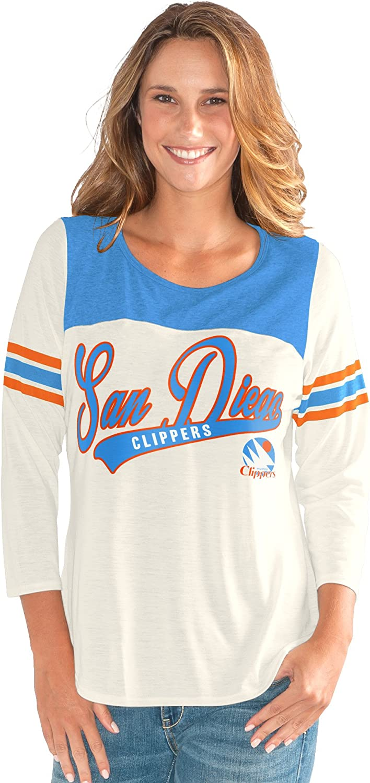 Vintage White G-III Sports NBA San Diego Clippers Womens End Zone 3//4 Sleeve Tee Medium