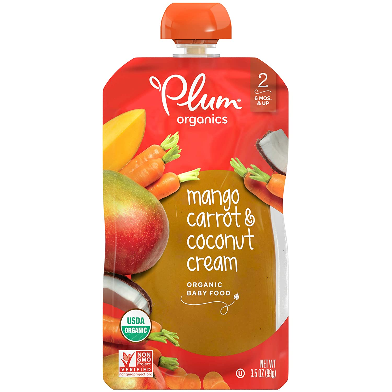Plum Organics Stage 2, Organic Baby Food, Mango, Carrot & Coconut Cream, 3.5 Ounce Pouch (Pack of 12) (Packaging May Vary)