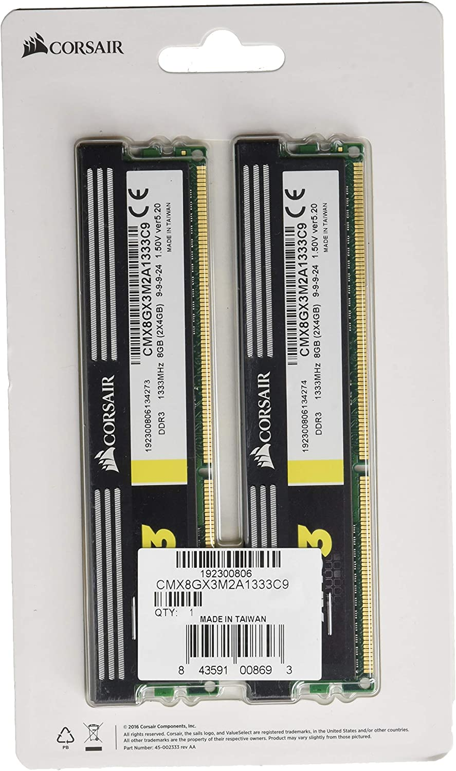 Corsair XMS3 8 GB (2 x 4GB) 1333 MHz PC3-10666 240-Pin DDR3 Memory Kit 1.5V