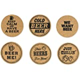 DII Novelty Printed Cork Beer Coasters - Set of 6