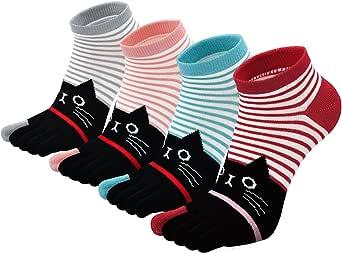 PUTUO Mujer cinco calcetines de los dedos, Algodón Calcetines de Animales Lindos para Mujer Calcetines de Divertidos Ocasionales, 4/5 pares