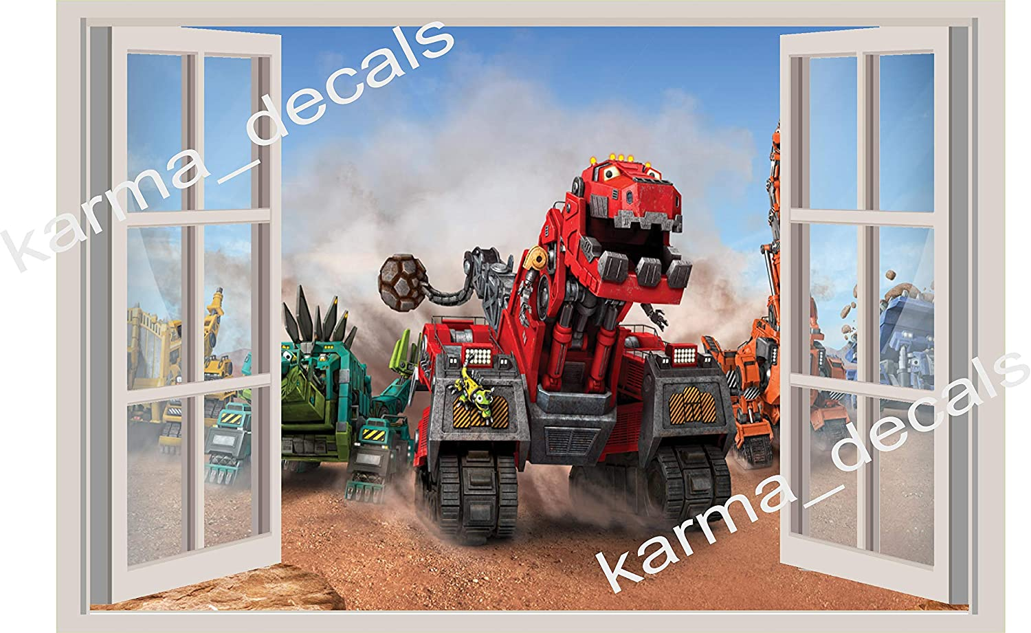 36 or 52 Dinotrux 3D Window View Decal Graphic WALL STICKER Art Mural 18 24