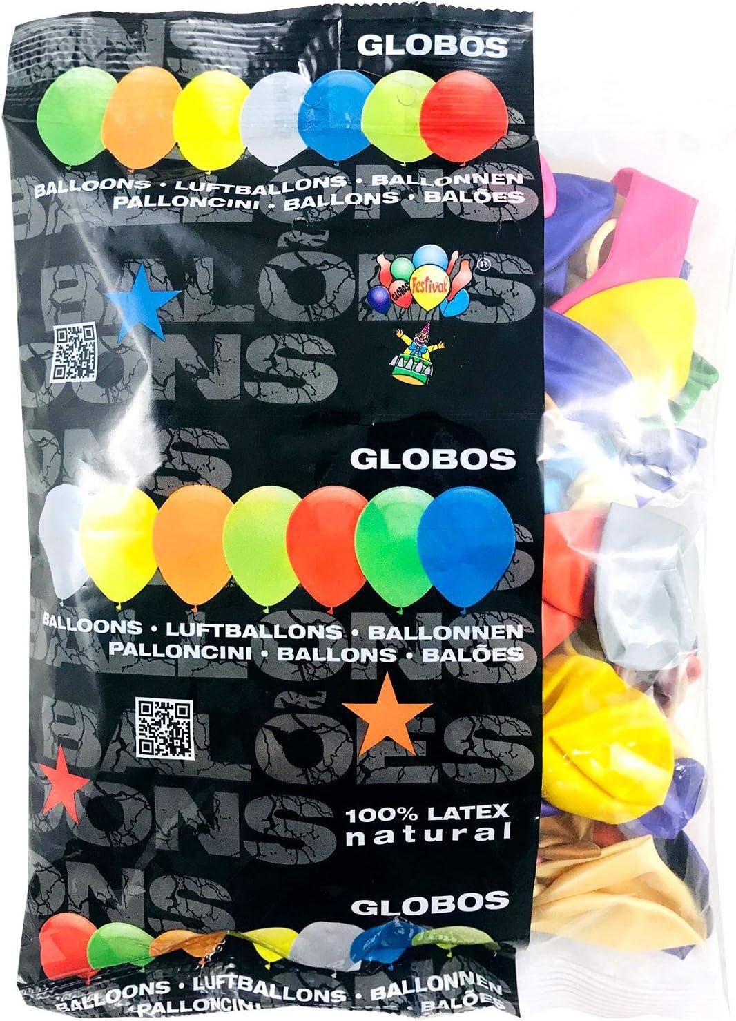 Globos Festival 100 Globos de látex Colores Metalizados Surtidos 8 ...