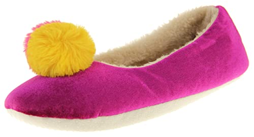 0602d60abe095 Dunlop Womens Synthetic Fur Comfort Warm Pom Pom Slippers Purple Mustard  5-6 B