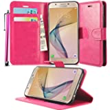 N+ INDIA SAMSUNG GALAXY J7 PRIME PINK LEATHER WALLET FLIP CASE COVER POUCH FOR SAMSUNG GALAXY J7 PRIME + TOUCH STYLUS PEN