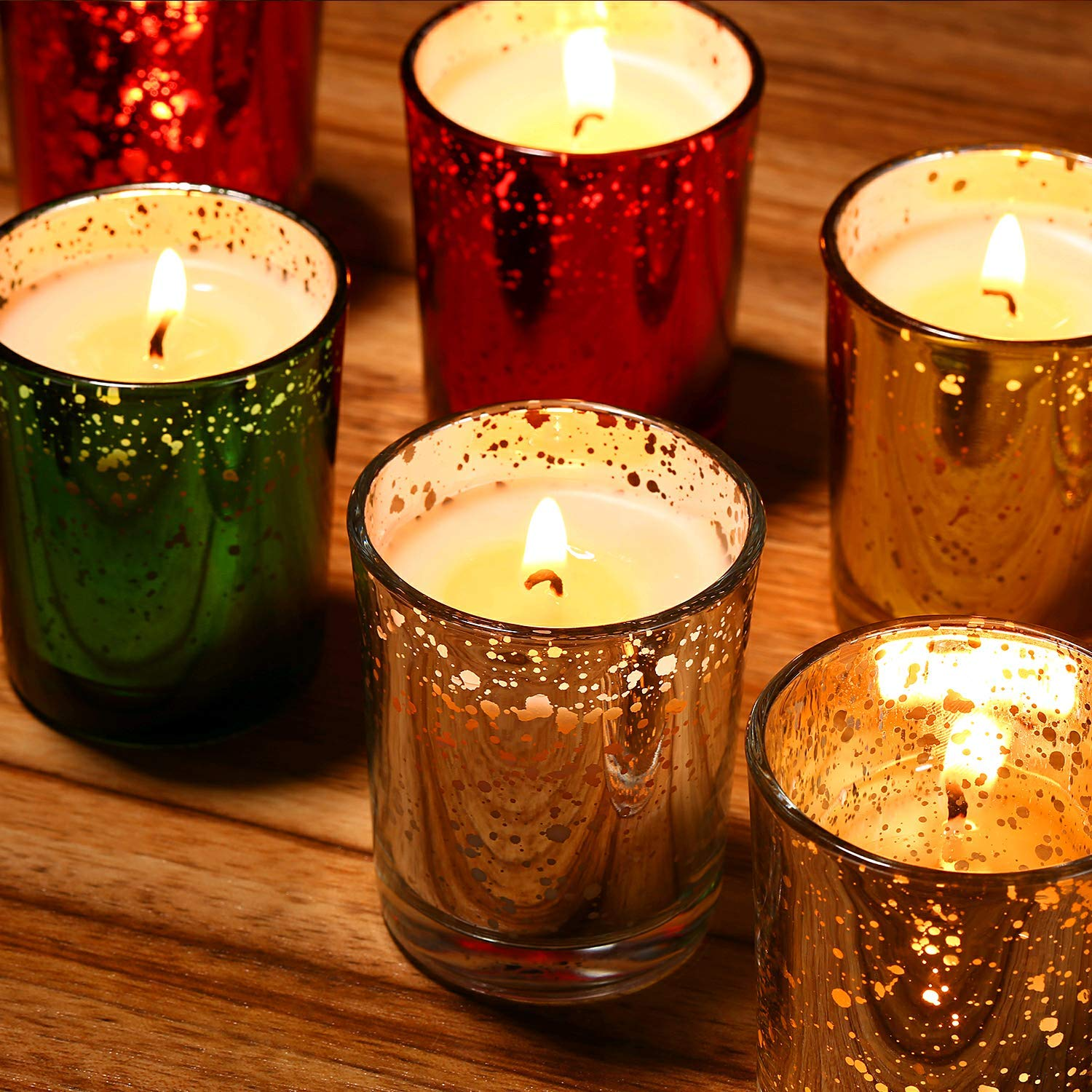 8 Pack flamecan Speckled Gold Glass Votive Scented Candle Gift Set /,/100/% Natural Soy Wax for 2.5 Oz Per Cup Portable Glass Candles with Fragrance Essential Oils for Stress Relief