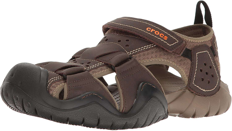 | Crocs Men's Swiftwater Leather Fisherman Sandal | Casual Slip On Sandals for Men | Shoes