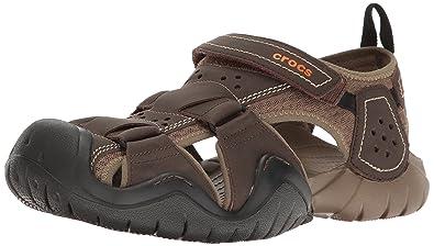 292f6717810 crocs Men s Swiftwater Leather M Fisherman Sandal  Amazon.com.au ...