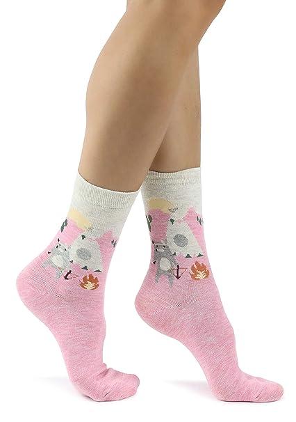 Mixmi Boutique Calcetines tobilleros rosas y gris claro, lobo cazador en México