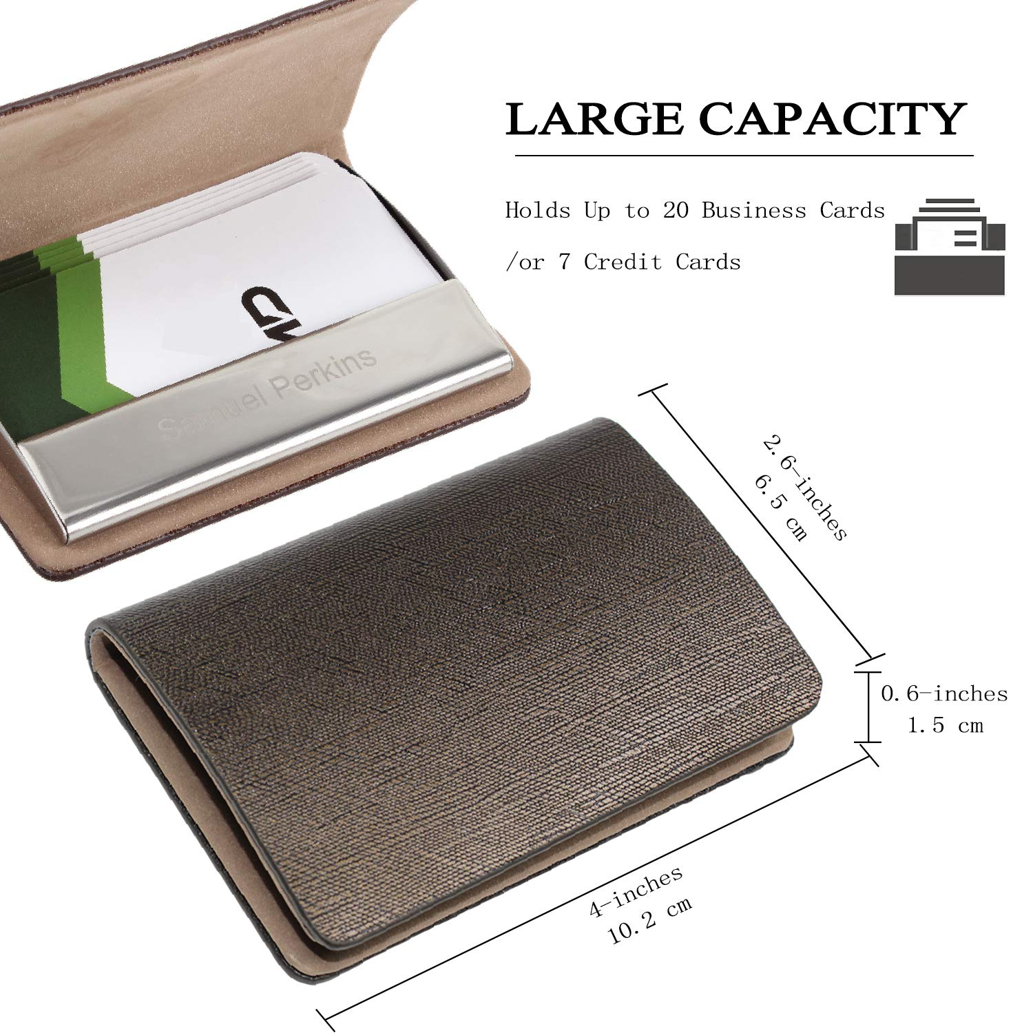 977766c35b31 Amazon.com: SOLEADER Customizable Leather Business Card Holder for Women,  Credit Card Holder - with Gift Box -Logo Engraving: Clothing