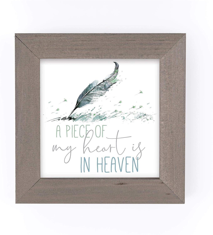 P. Graham Dunn Piece of My Heart Heaven Green Feather 5 x 5 Pine Wood Driftwood Framed Art Sign