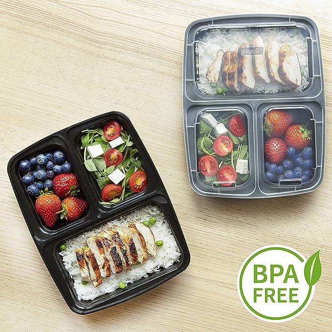 nero//rosso Contenitore per il pranzo isolato con 3 contenitori di controllo delle porzioni Meal Prep Bag