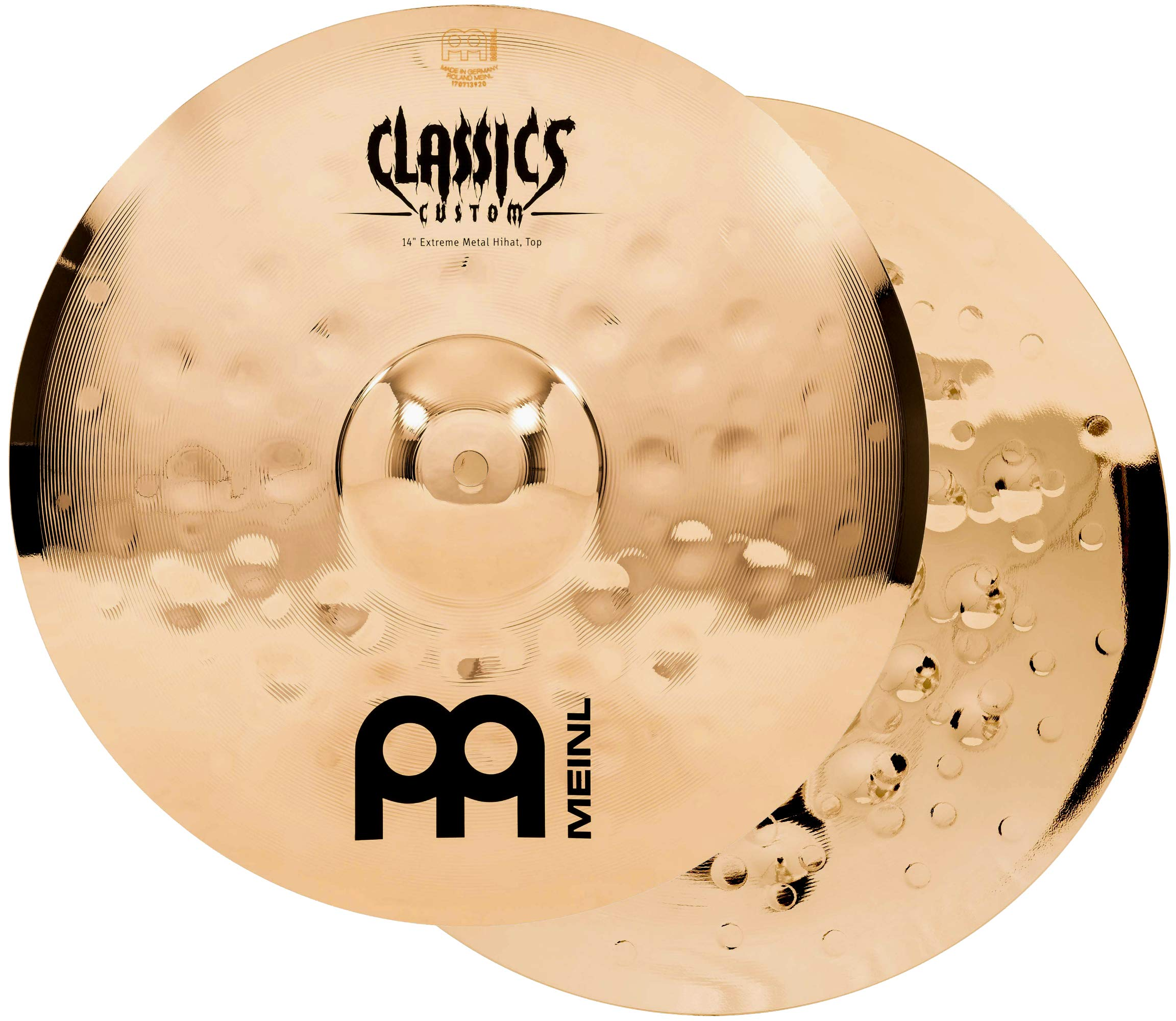 Meinl 14'' Hihat (Hi Hat) Cymbal Pair - Classics Custom Extreme Metal - Made in Germany, 2-YEAR WARRANTY (CC14EMH-B)