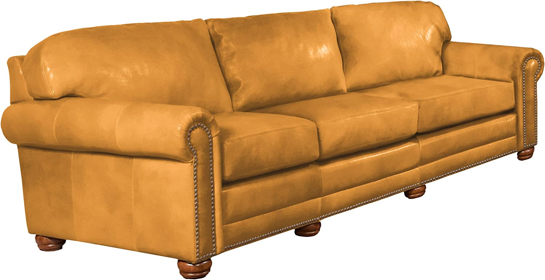 - Omnia Leather Dominion 3 Cushion Sofa In Leather, With Nail Head