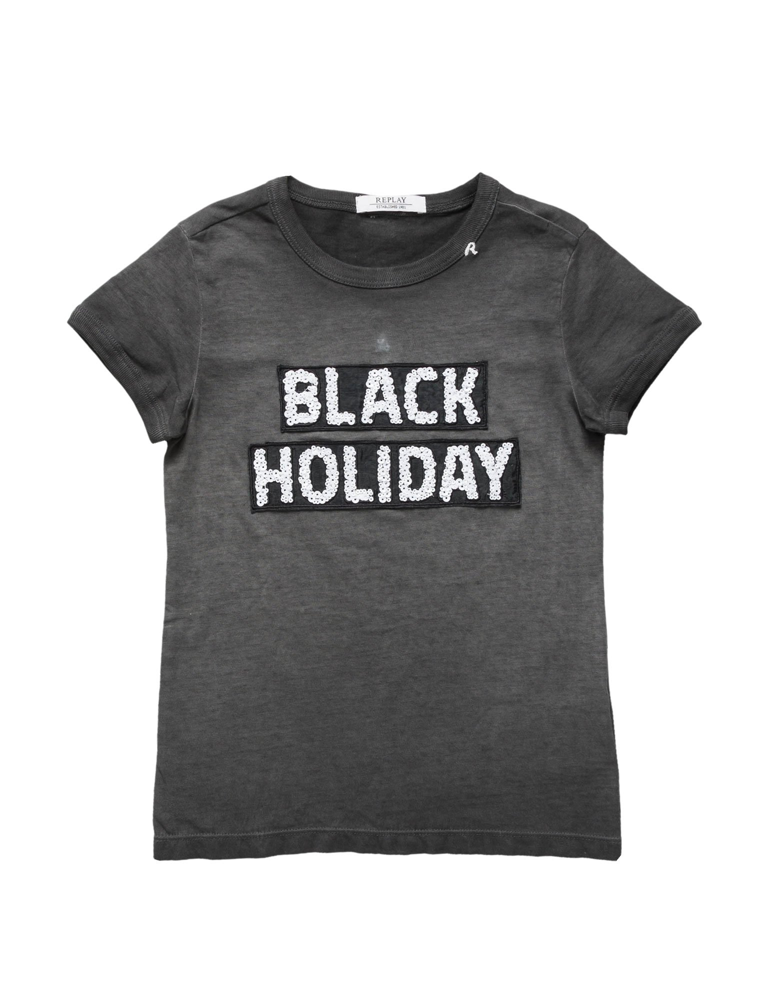 Replay Garment Dyed Cotton Jersey Girl's T-Shirt In Black In Size 12 Years Black