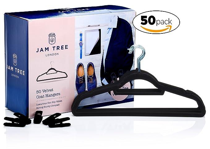 50 perchas de terciopelo con pinzas para faldas y pantalones. Estas perchas cuentan con suspensiones antideslizantes para guardar ropa para adultos ...