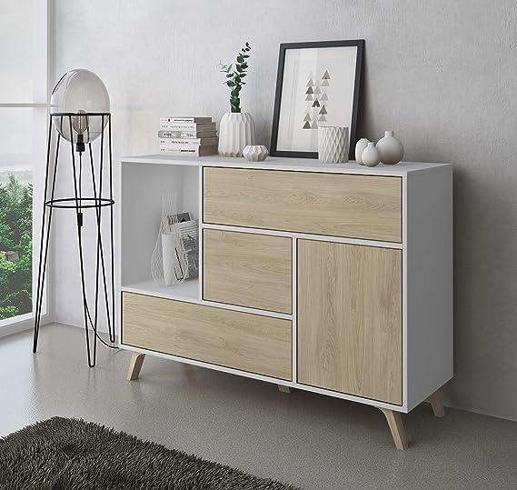SelectionHome - Mueble Aparador Salon Comedor 1 Puerta y 3 cajones, Buffet, modelo Wind, color Blanco y Puccini, Medidas: 120 cm (largo) x 40 cm (fondo) x 85,6 cm (alto): Amazon.es: Hogar