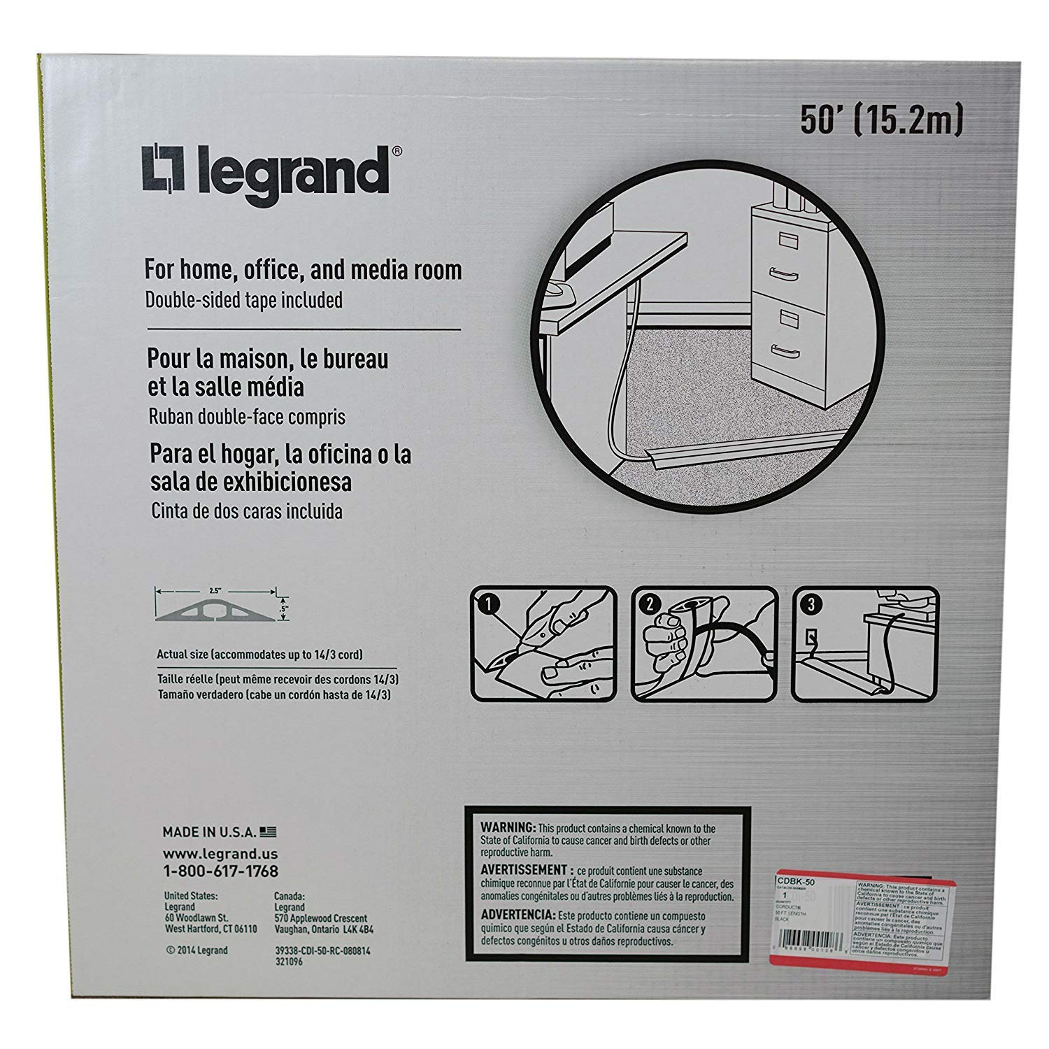 Legrand - Wiremold CDBK-50 Corduct Overfloor Cord Protector-  Rubber Duct Floor Cord Cover, Black (50 Feet) by Wiremold (Image #8)