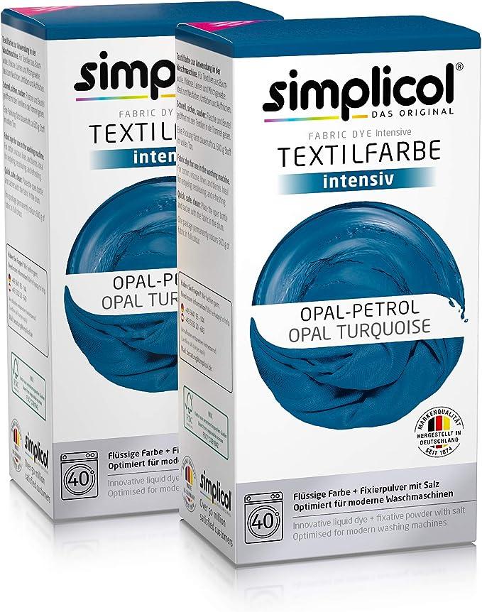 Simplicol Kit de Tinte Textile Dye Intensive Azul: Colorante para Teñir Ropa, Tejidos y Telas Lavadora, Contiene Fijador para Colorante Líquido, Anti ...