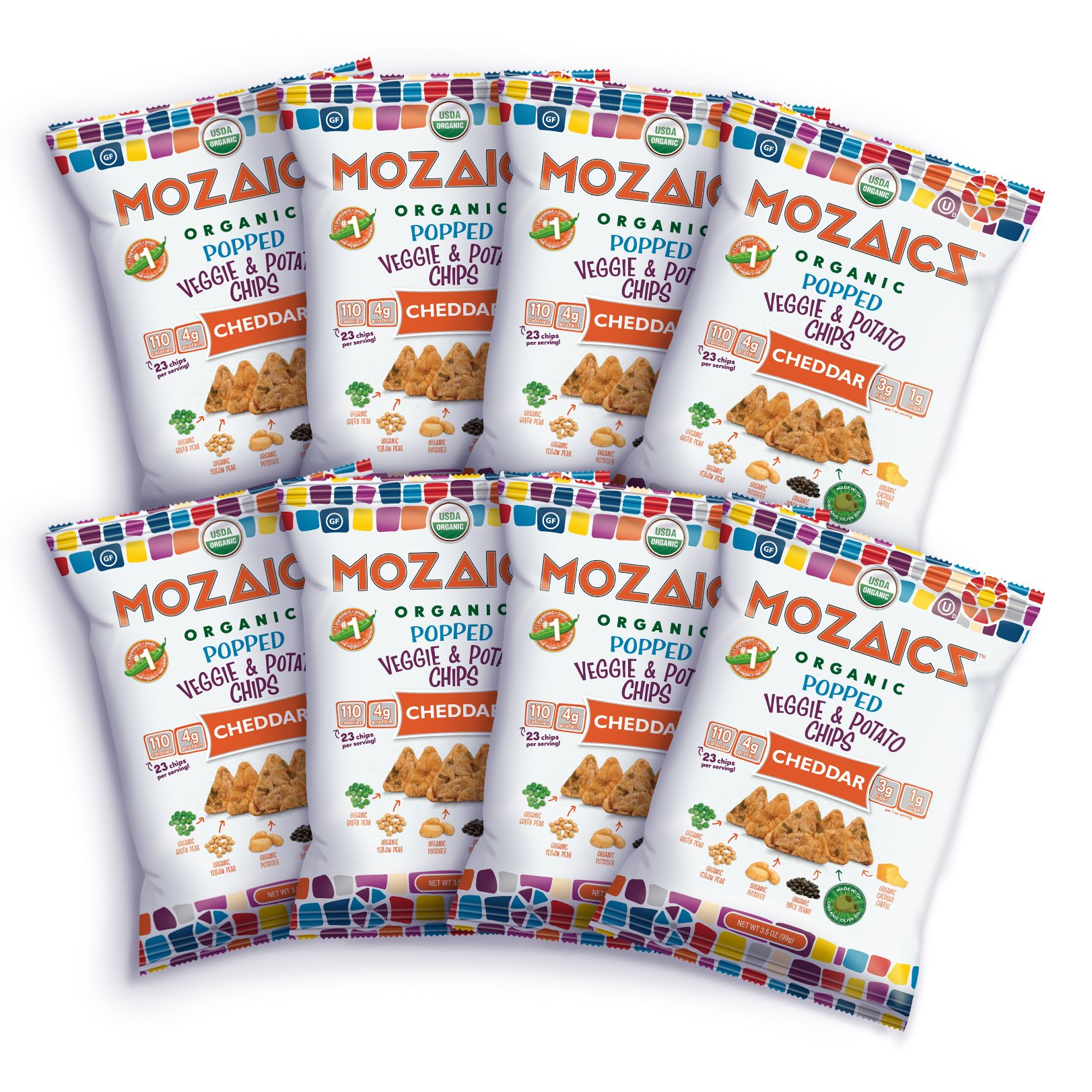 Mozaics Organic Popped Veggie & Potato Chips- Healthy snack, under 100 calories, better than veggie straws or stix - gluten free - 3.5oz big bags (Cheddar, 8-count) by Mozaics