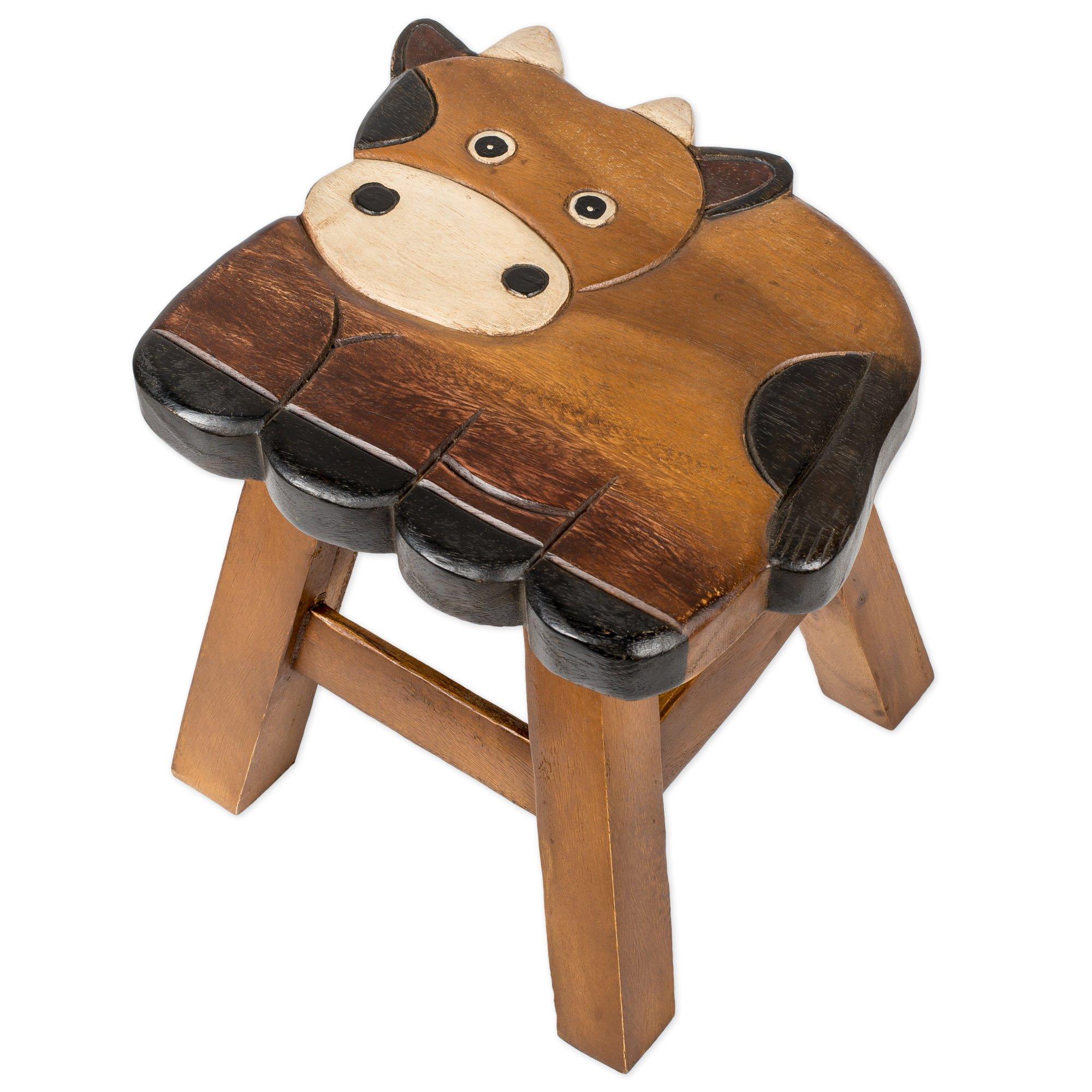 Cow Design Hand Carved Acacia Hardwood Decorative Short Stool