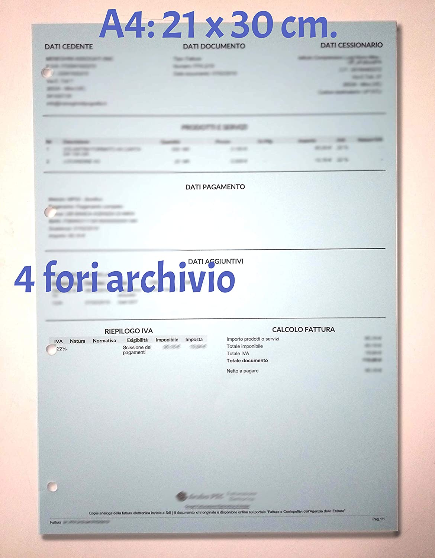 Ricambio Ricarica A4 21x30cm per Raccoglitore a 2 o 4 Anelli 100 Fogli // 200 Pagine a Quadretti 5 mm ToiNota