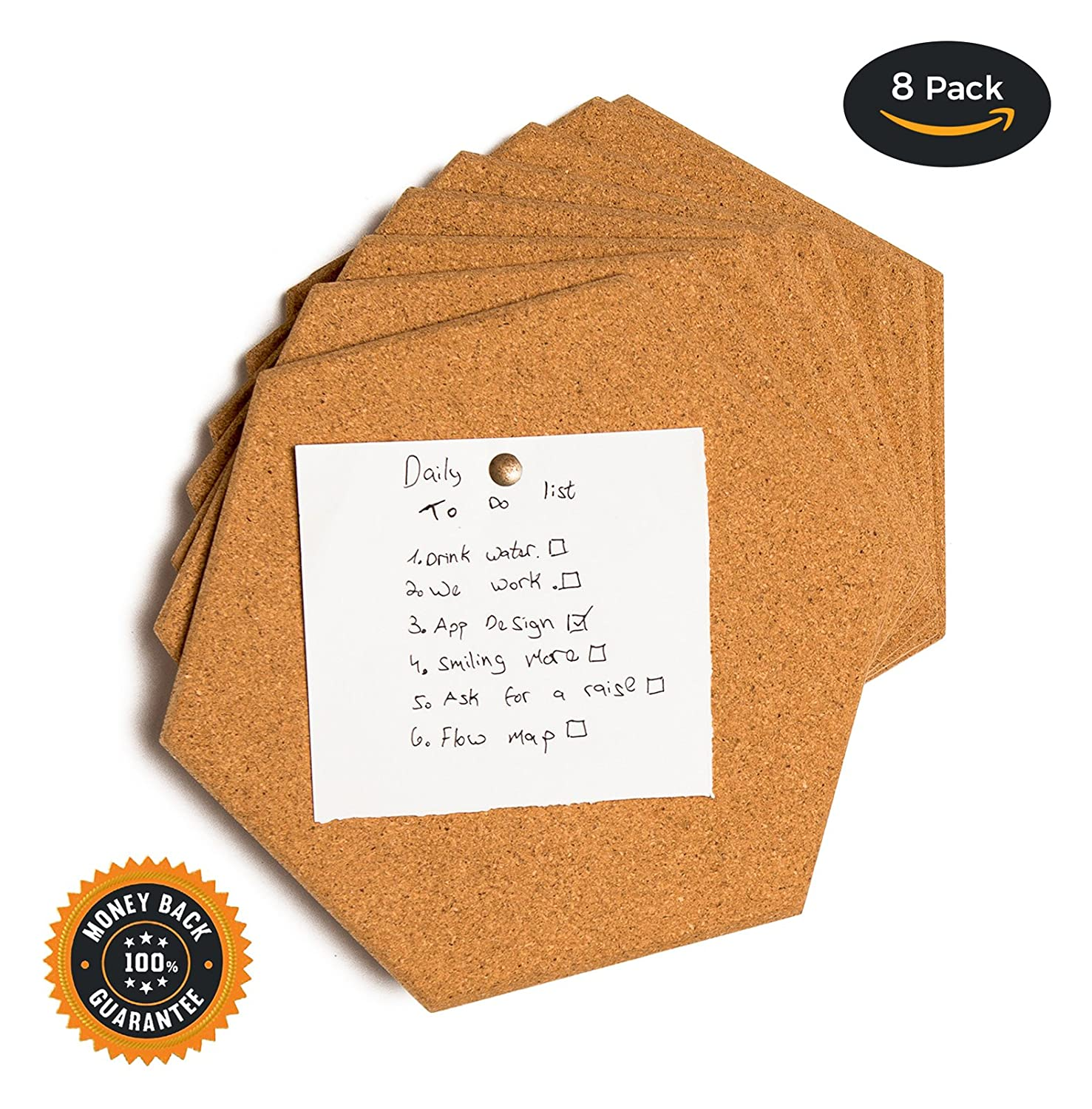 Hexagon Cork Tiles - Cork Board, Pin Board, Bulletin Board, 8 Pack Including M3 Double Sided Adhesive and 12 Push pins craft your space