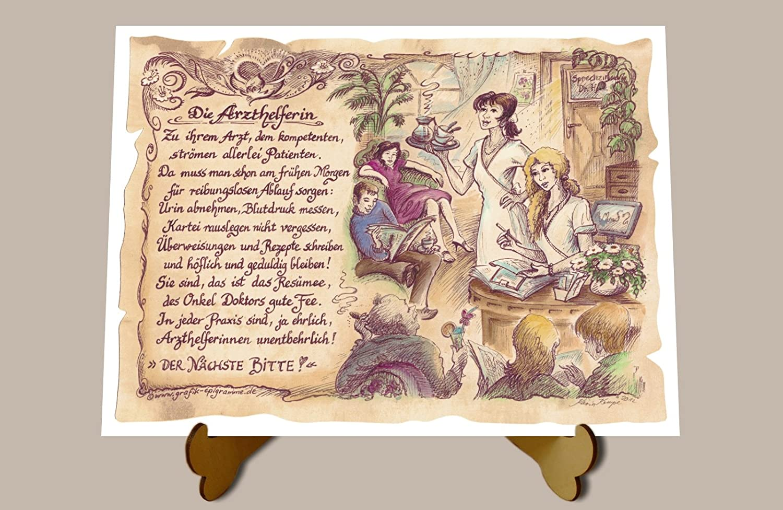 Geschenk Arzthelferin Krankenschwester Zeichnung Color 20 X 15 Cm