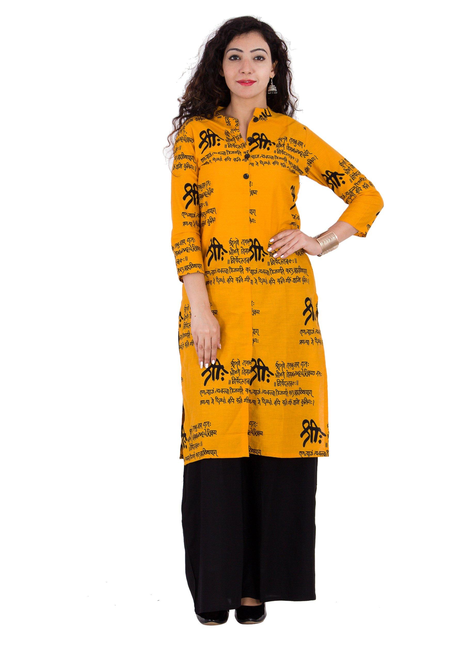 BrightJet Printed Yellow Wooden Button Cotton Women Fashion FrontSlit Kurti Straight fit Kurta Top Tunic Party Dress (XL)