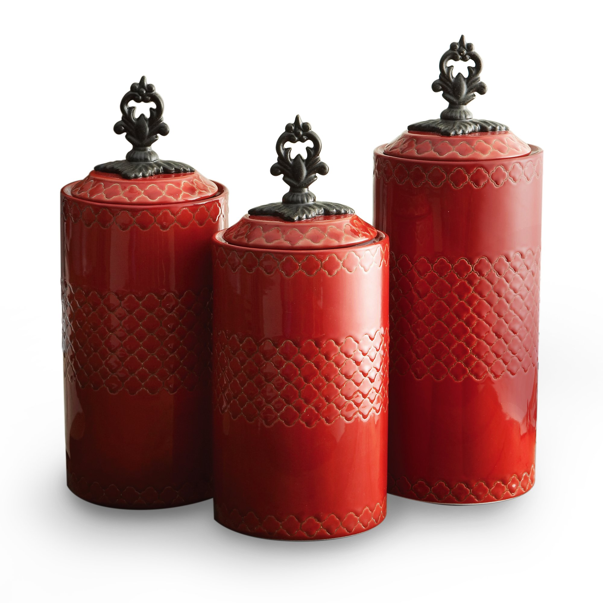 American Atelier Set of 3 ceramic Canisters-Red, Red