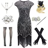 Ponce Fashion Women 20s Roaring Gatsby Sequin Fringed PlusDress 1920s Costume Accessories Set
