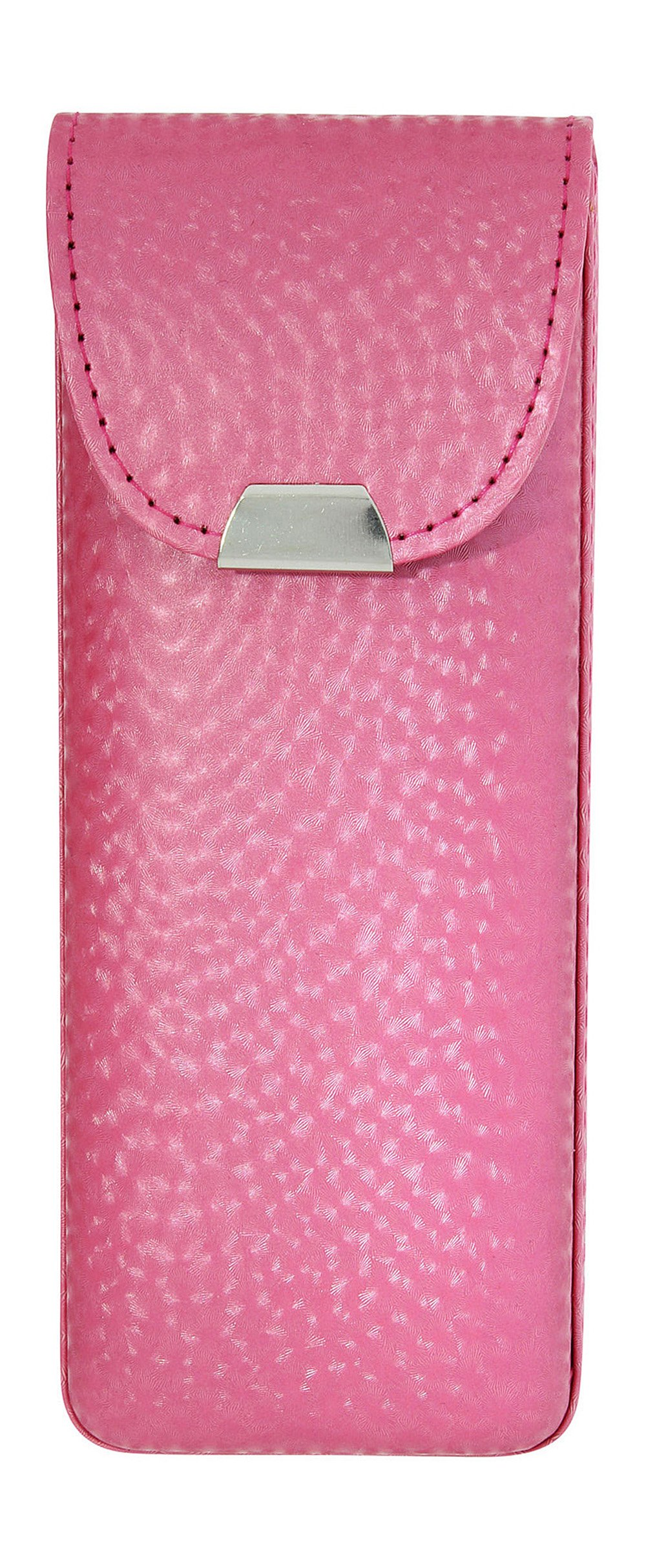 Eyeglass Case Top Snap Closure Metal Embellishment Pearly Shade Of Pink