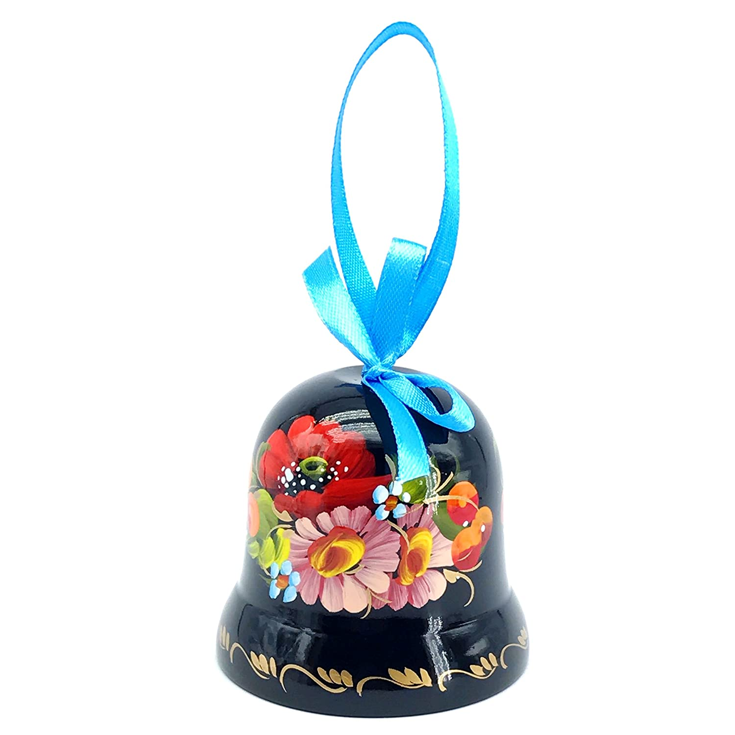 Ukrainian Souvenir Hand Painted Lacquered Wooden Decorative Bell with Ethnic Petrykivka Floral Painting, a Nice Home Decor Accent Item in a Gift Box for Women, Hanging or Desktop (Black and Rose) Sapfir