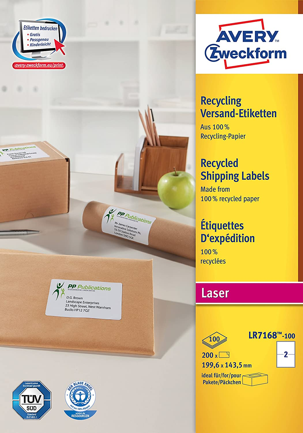 2 Labels Per A4 Sheet Avery Self Adhesive Recycled Parcel Shipping Labels 200 labels QuickPEEL White Laser Printers