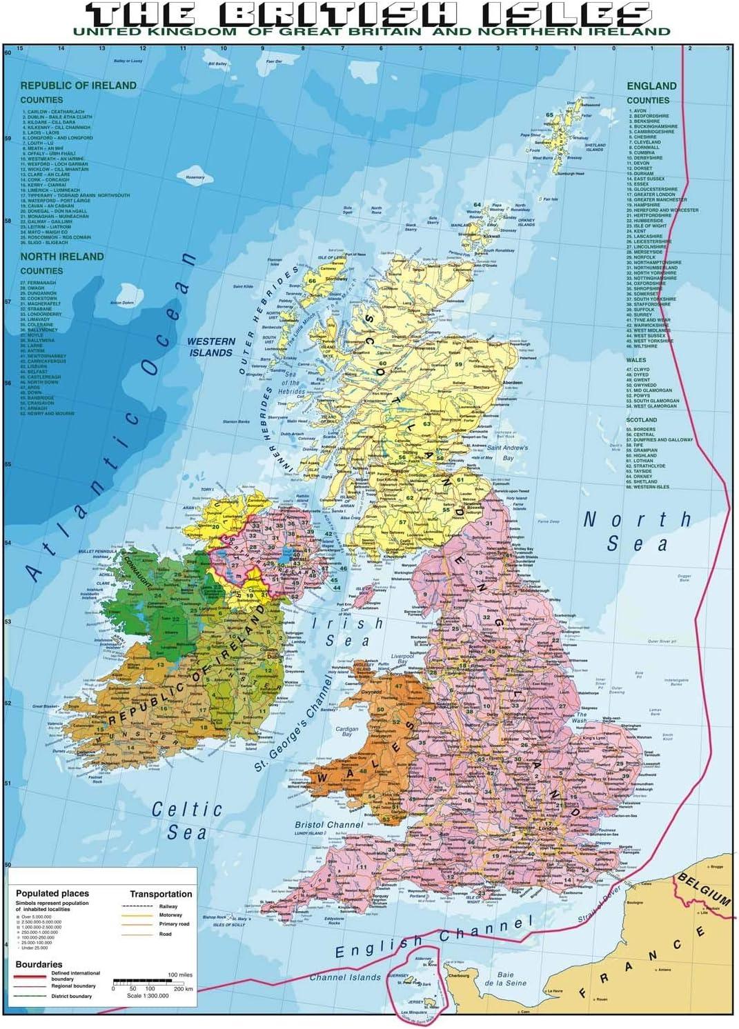 Cartina Stradale Gran Bretagna.Carta Geografica Murale Gran Bretagna In Lingua Madre Inglese Amazon It Cancelleria E Prodotti Per Ufficio