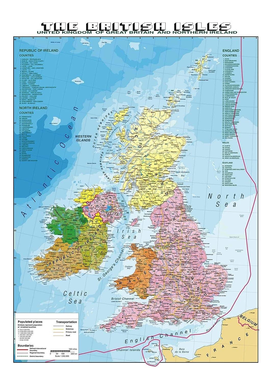 Ios Cartina Geografica.Carta Geografica Murale Gran Bretagna In Lingua Madre Inglese Geografia Cancelleria E Prodotti Per Ufficio