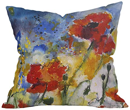 Deny Designs Ginette Fine Art Wildflowers Poppies 2 Throw Pillow, 20 x 20