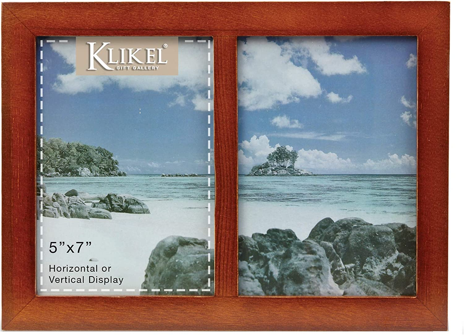 Klikel Picture Frame - Picture Frame Collage - 2 Opening Photo Frame - 5x7 Picture Frame - Solid Walnut Brown Wood Picture Frame - 2 Opening 5 X 7 Picture Slots