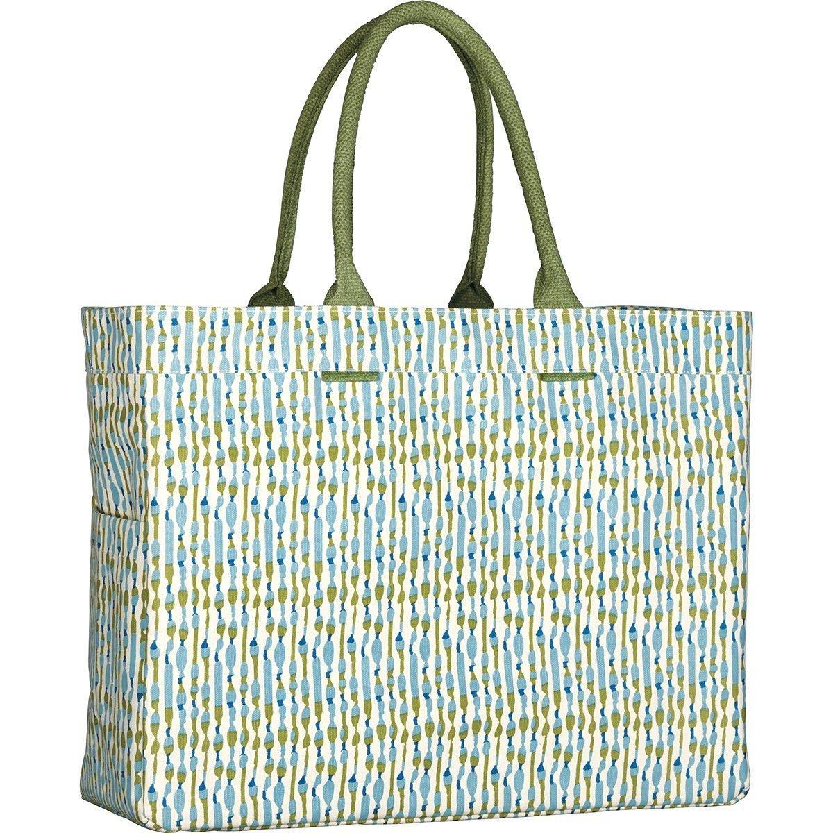 rockflowerpaper Athena Ocean Blue Green Canvas Carryall Tote Shoulder Bag