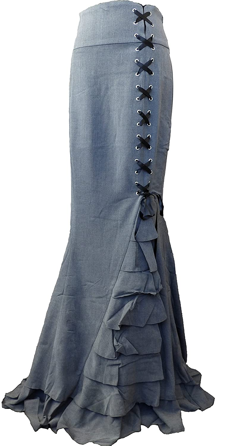 (XS-28) Rainy Night in London - Black or Gray Gothic Steampunk Victorian Skirt