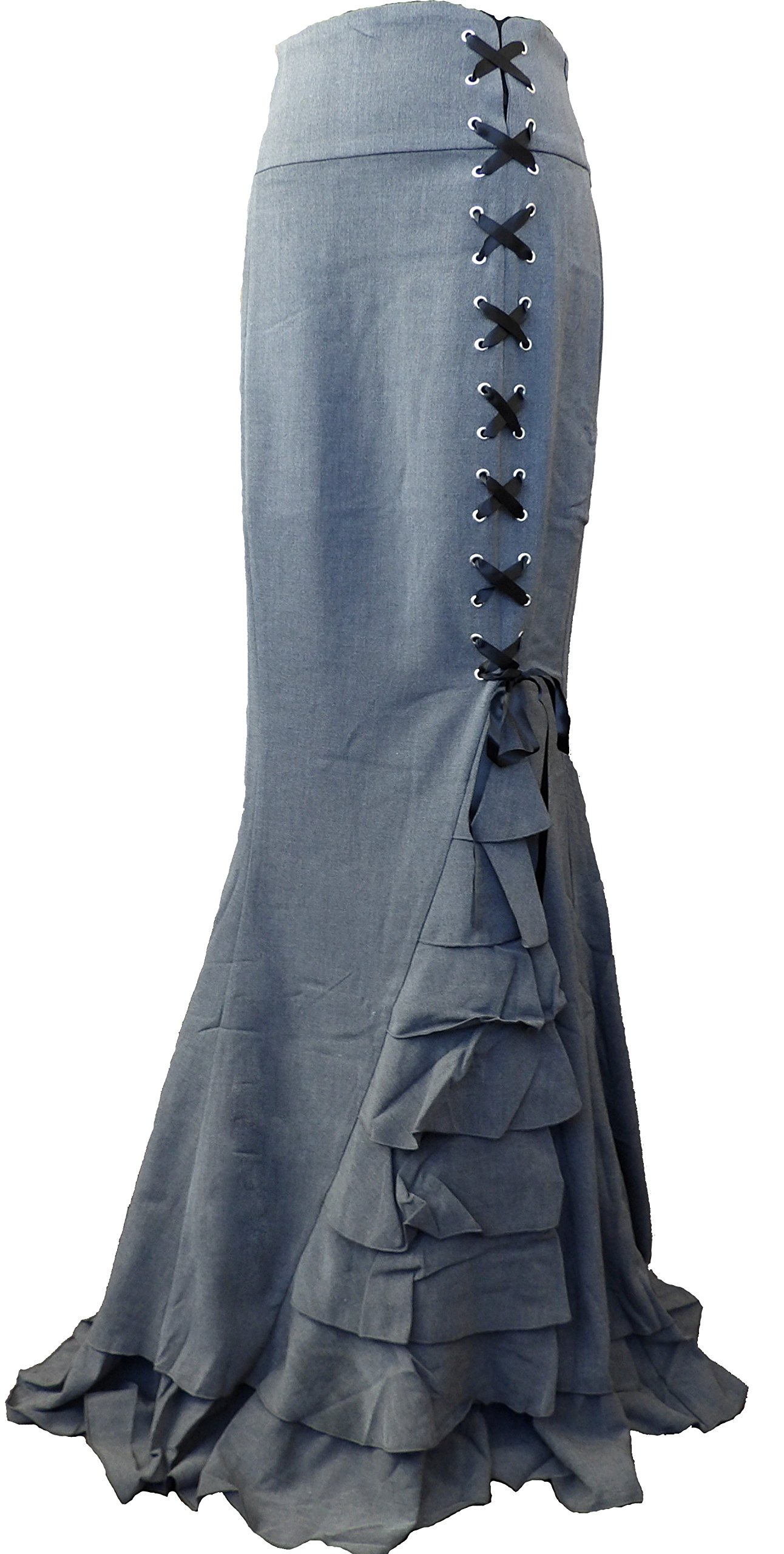 -Rainy Night in London- Gray Victorian Gothic Ruffle Steam punk Vintage Style Skirt (Large, Gray)